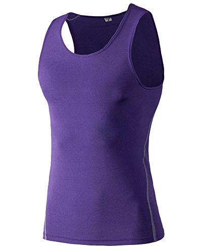 Compression T-Shirt Unterhemd Kompression Tank Top Kompressionsunterhemd Elastisch Ärmellos Für Herren Männer Lila XL