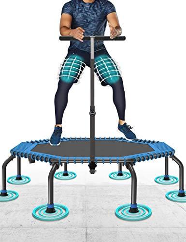 50' Cama Elástica MAX. Carga 250 Libras Silencioso Fácil Instalación Plegable Fitness Trampolin para Niños Adulto Exterior Jumping