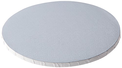"""W PACKAGING WPDRM10W 10"""" (10x10x.0.31) White Round Cake Drum, 1/2"""" Thick, B/C-Flute, Corrugated with Coated Embossed Foil Paper, Covers Top and Sides (Pack of 12)"""