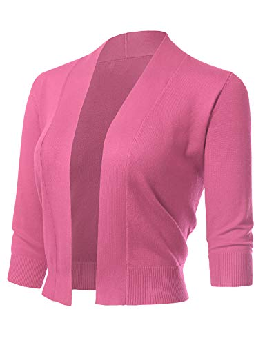 Women's Classic 3/4 Sleeve Open Front Cropped Cardigans (S-3XL) S Fuchsia