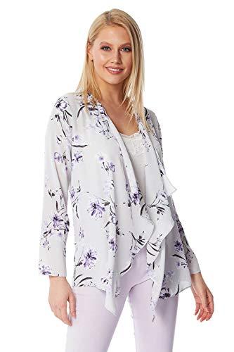 Roman Originals Kimono damesjack met lange mouwen en bloemen - dames cardigan, schouderdoek, strand, los, caftan, boho, zomer, blouse