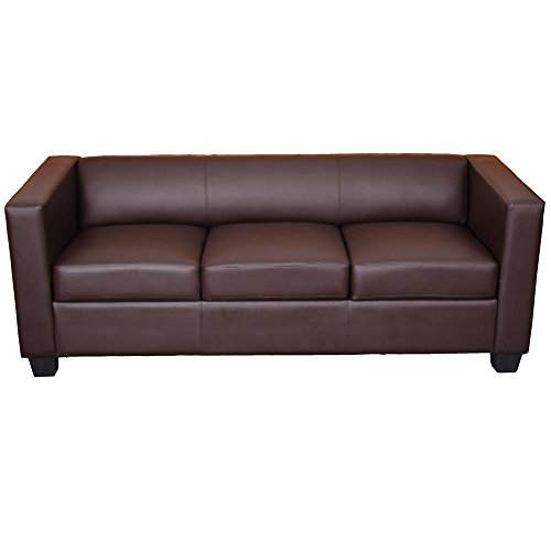 Mendler 3er Sofa Couch Loungesofa Lille - Kunstleder, Coffee