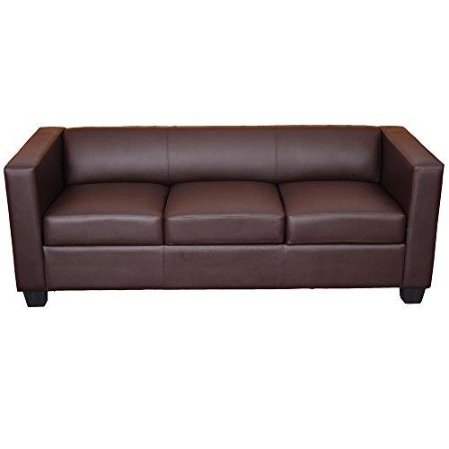 Mendler 3er Sofa Couch Loungesofa Lille ~ Kunstleder, Coffee