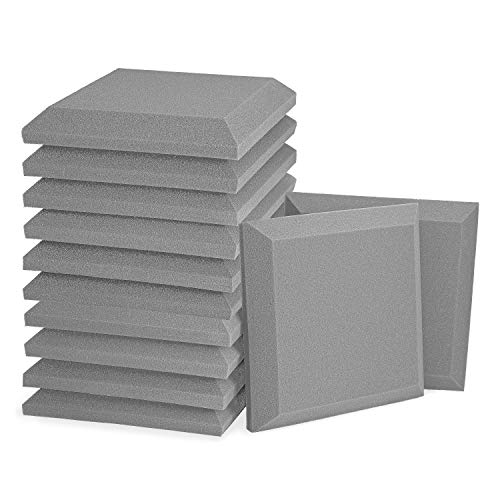 """12 Pack - Acoustic Foam Panels, 2"""" X 12"""" X 12"""" 3D Beveled Square Studio Wedge Tiles, Sound Panels wedges Soundproof Sound Insulation Absorber (12 Pack [Beveled Square], Grey)"""