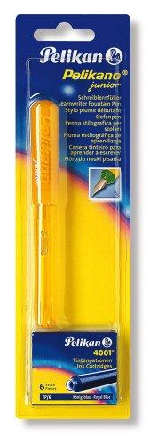 Pelikan 943407 - Schulfüller Pelikano Junior P67 grün/gelb für Rechtshänder mit A-Feder und blauer Tintenpatrone