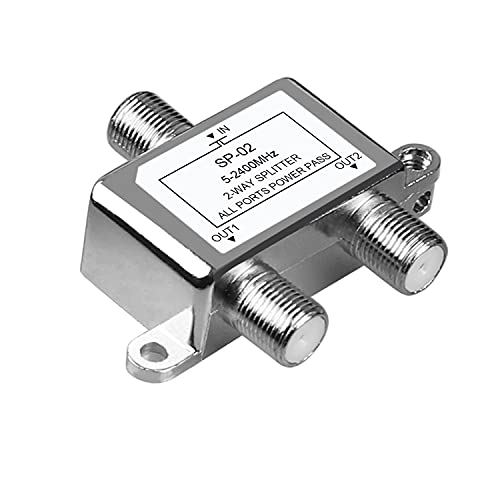 NEWCARE Digital 2-Way Coaxial Cable Splitter 5-2400MHz, RG6 Compatible, Work with Satellite/Cable TV and Internet, CATV Antenna System.(COAXIAL Cable NOT Included)