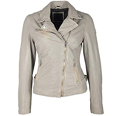 Mauritius Women's Vegetable Tanned Lambskin Leather Jacket - Sofia Silvergrey Size Small