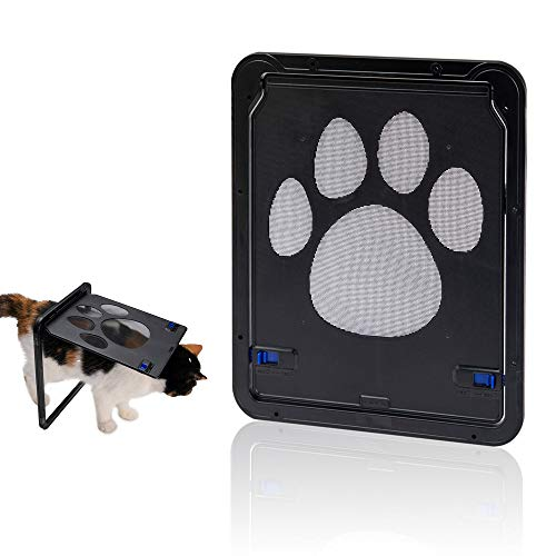 Hyindoor Porte per Cani e Gatti, Porte scorrevoli di Sicurezza per Animali Domestici con finestre schermate, entrata e Uscita controllate, 24 x 29cm