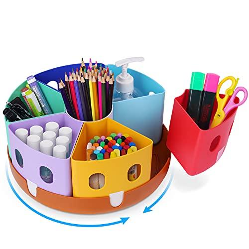 Gamenote Rotating Art Supply Organizer - Lazy Susan Office School Supplies for Kids Desk Organizers and Storage Homeschool Craft Caddy Classroom Organization