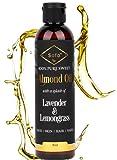Almond Oil for Skin   Body Oil for Women Blend w/Lavender & Lemongrass Essential Oils for Dry Skin   8 Oz  Face & Body Moisturizer   Highest Quality Ingredients  Massage Oil for Men & Women