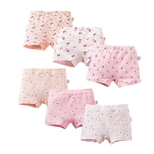 MiSense 6er Pack Mädchen Unterhosen Baumwolle Unterwäsche Maedchen Boxershorts für 2-11 Jahre(6-8 Jahre,608-504XL)