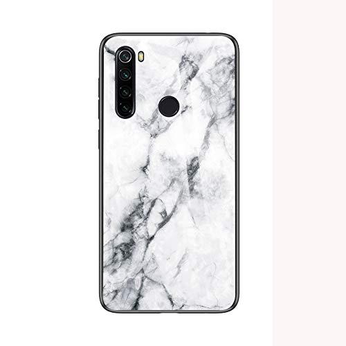 BeyondTop Funda Marmol para Xiaomi Redmi Note 8 Fina y Slim Tapa Trasera de Cristal Templado con TPU Edge Carcasas y Fundas Dura para Xiaomi Redmi Note 8-Blanco