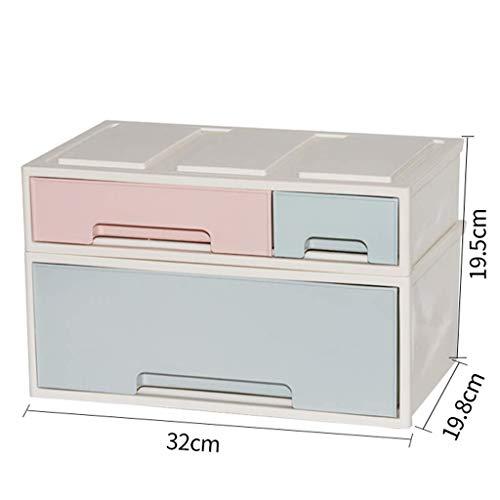 ZTMN en Plastique Simple boîte de Rangement cosmétique Bureau Multi-Grille Type de tiroir Rouge à lèvres Bijoux Soins de la Peau Produits boîte de Rangement (Couleur: A)