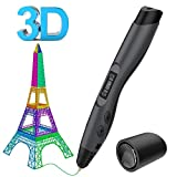 3D Stifte, Aerb 3D Pen Intelligent LCD-Bildschirm kompatibel mit PLA/ABS Filament, mit 2 Frei 1,75 mm Filament - Schwarz