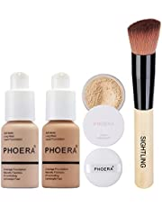 PHOERA 30ml Foundation Liquid Full Coverage 24HR Matte Oil Control Concealer (Nude #102)(Buff Beige #104) with Loose Powder + Puff (Cool Beige #02) & Wooden Handle Foundation Make up Brush