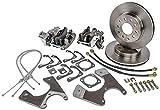 JEGS GM 10 & 12 Bolt Rear Disc Brake Conversion Kit | With Parking Brake | Fits Standard Shock Configuration | Plain Rotors | Loaded Calipers