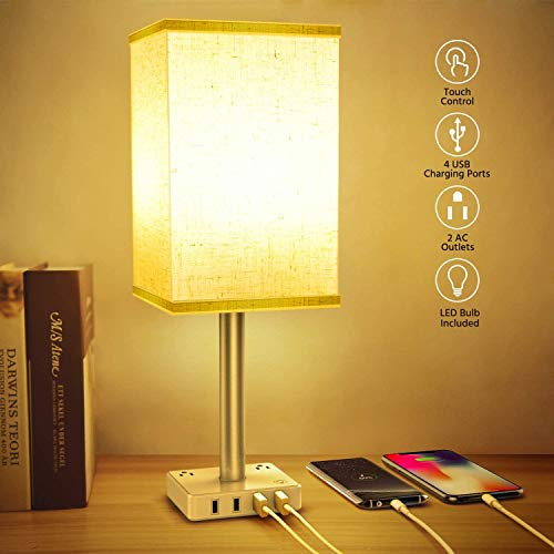 Lámpara de Mesa USB con Control Táctil, Lámpara de Mesa Regulable de 3 Vías con 4 Puertos USB de Carga Rápida y 2 Tomas, Lámpara...