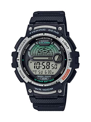 Casio Men's Fishing Timer Quartz Watch with Resin Strap, Black, 24.1 (Model: WS-1200H-1AVCF)
