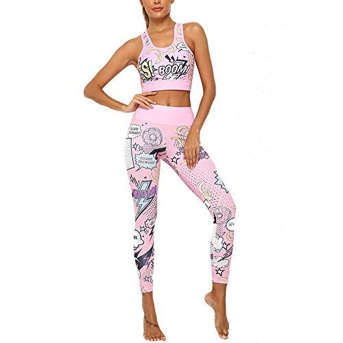 Damen Fitness Sportswear Sets Tanktops & Leggings 2-teiliges Outfit Mode Cartoon Gedruckt Casual Jogginganzüge Mittlere Taille Gym Yoga Laufen Trainingsanzüge