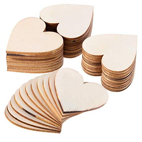 ZesNice Holzherzen Hochzeit, 50 Stück 50mm Holz Herzen Deco Scheiben Für Gästebuch Beschriften DIY Handwerk Verzierungen Naturholzscheiben