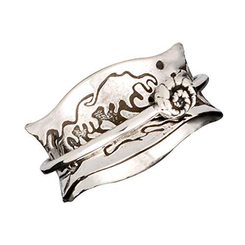 Energy Stone Ocean Kiss Tsunami Art Sterling Silver Meditation Spinner Ring (Style UK56) (R 1/2)