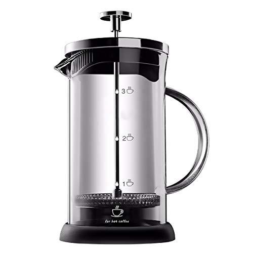 Hokaime Café de Prensa francés 350ml 600 ml1000ml - Espresso y Fabricante de té con filtros triples, émbolo de Acero Inoxidable y borosilicato Resistente al Calor, Prensa de café,1000ml