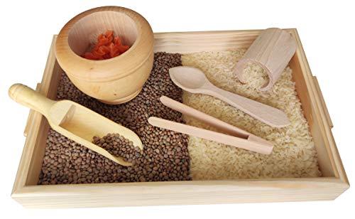 GERILEO Juego de Accesorios de Cocina de Madera - Trasvases Montessori - Juego heurístico - Bandeja con Pinzas, cucharas, cubiletes, morteros, Palas de Madera (6 Piezas)