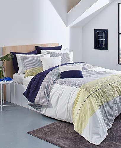 Lacoste Backspin Wende-Bettwäsche-Set, 100 % Baumwolle, gestreift, für Doppelbett, XL, Elfenbein/Blau/Gelb