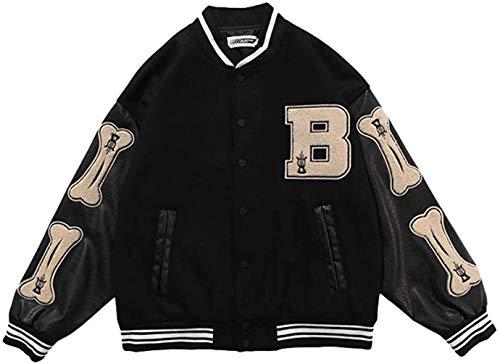 LucaSng Herren College Baseball Jacke Sweatjacke Sportjacke Classics Baseball Jacke Unisex Mode Streetwear (Schwarz, M)