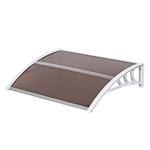 """STERXONE Durable Door Awning Window Awnings Exterior Rain and Sun, Best Front Door Awning Polycarbonate Cover Outdoor Patio Canopy Shetter with Aluminum Fixing Bars, ABS Curved Bracket (30 x 40""""-F)"""