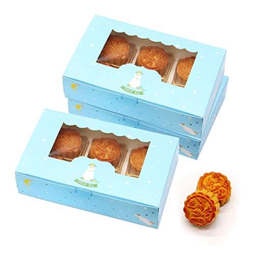 15 Paquetes de Cajas para Tartas con Ventana de visualización, Cajas rectangulares para Tartas para Cupcakes, Muffins, postres, Resistentes Cajas de panadería para Fiestas en casa, Celebraciones