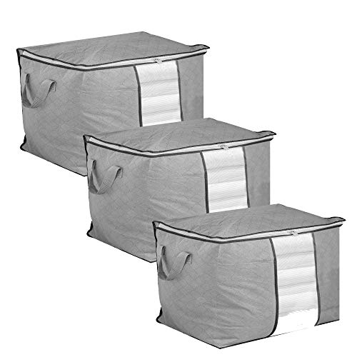 Set of 3 Storage Bags   Moth Proof Clothes Organiser   Waterproof Garment Covers   Large Duvet Bags with Zips   Bedroom Under Bed Solution   Pukkr (Horizontal)