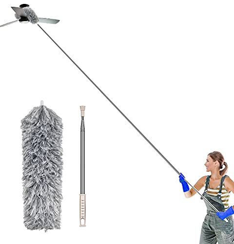 Atopov Microfiber Duster for Cleaning with 100-inch Stainless Steel Extension Pole Extendable Duster Collector Head Bendable, Washable, Lint Free Dusters, Roof,Ceiling Fan, Blinds, Cobwebs