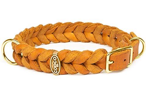 CopcoPet - Fettleder Halsband, Cognac 15 mm Breite, 30-34 cm Halsumfang, geflochten mit Dornschließe, geflochtenes Hundehalsband, Handarbeit aus Deutschland, hochwertiges Rindsleder