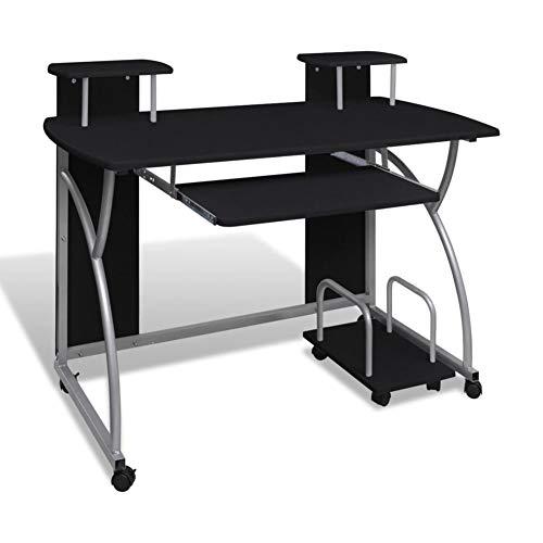 Ausla - Mesa de ordenador con estante para escritorio, estación de trabajo, PC con ruedas, estación de trabajo, mueble para dormitorio, salón, oficina, negro, 120 x 60 cm