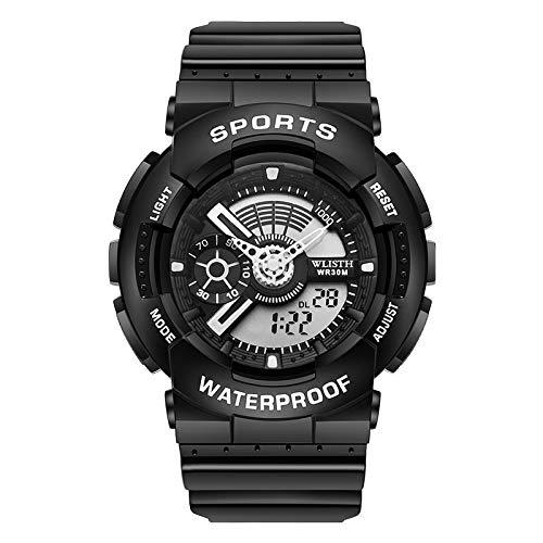Reloj Deportivo Multifuncional Impermeable con Movimiento De Pantalla Dual Simple Reloj Electrónico Cinturón Negro círculo Negro 1#