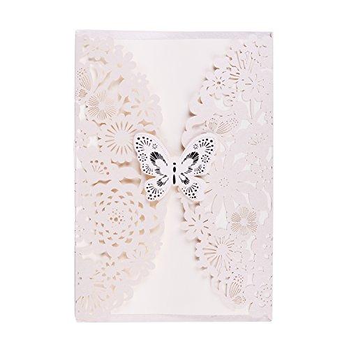 WOLFTEETH Lot de 20 Cartes d'Invitation Enveloppe Faire-Part pour décoration de Mariage fiançailles Anniversaire Naissance fête soirée Papillons et Fleurs(Beige)