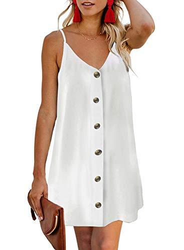 Chase Secret Womens Summer Casual Ladies Spaghetti Strap Sleeveless Button Down V Neck Mini Dresses White Small