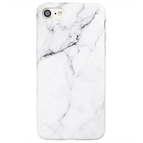 ooooops iPhone 8 Case, iPhone 7 Case, iPhone SE Case, White & Grey Marble Pattern Design, Slim Fit Clear Bumper Soft TPU Full-Body Protective Cover Case for iPhone SE / 7/8 4.7'' (White Marble)