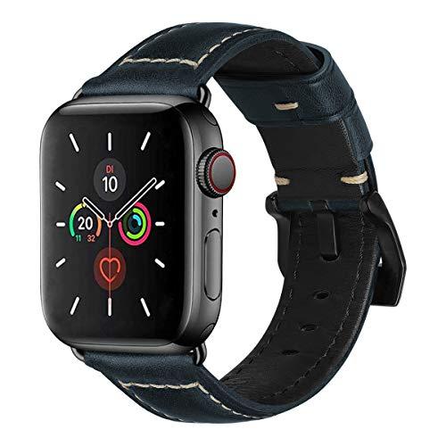 MroTech 44mm 42mm Leren armband vervanging voor 44 mm iWatch Armband Series 5/4 42 mm Series 3/2/1 Reserveband Horlogeband Bands Armbanden echt Leder Watchband Heren Horloge Bracelets-Antieke Blauw 44mm/42mm