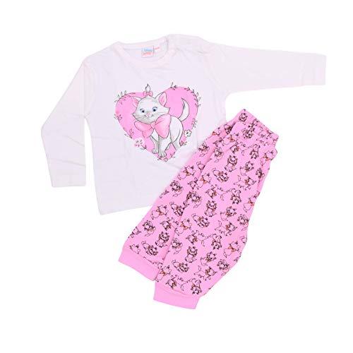Babybogi Katze Marie Baby Kleidung 2 teilig   Top und Hose   Größe 62/68 74/80 86/92   Disney Baby Set für Mädchen in den Farben Weiß/Rosa (86/92)