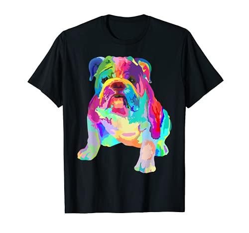 Dog Lover Gifts Womens Colorful Cool English Bulldog Mens T-Shirt