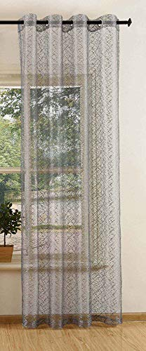 Gardine Netzvorhang mit Ösen einfarbig transparent Deko Vorhang Netz Struktur 245x140 Grau, 20352