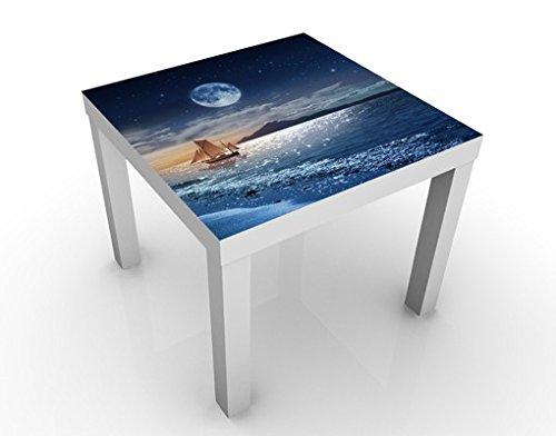 Apalis Table Basse Design Moon Night Sea 55x55x45cm, Tischfarbe:Weiss;Größe:55 x 55 x 45cm