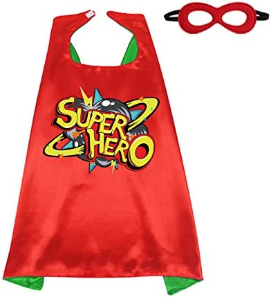 D Q Z Kids Superhero Cape and Mask for Girls Boys Super Hero Dress Up Cape Birthday Party Gifts product image