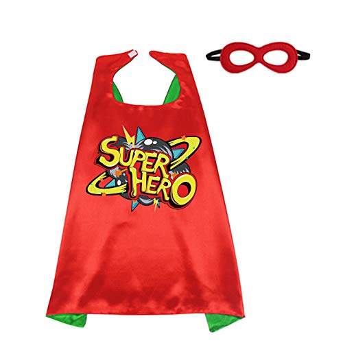 D.Q.Z Kids Superhero Cape and Mask for Girls Boys, Super Hero Dress Up Cape, Birthday Party Gifts for 3+ Years Old Children (Red-Green)