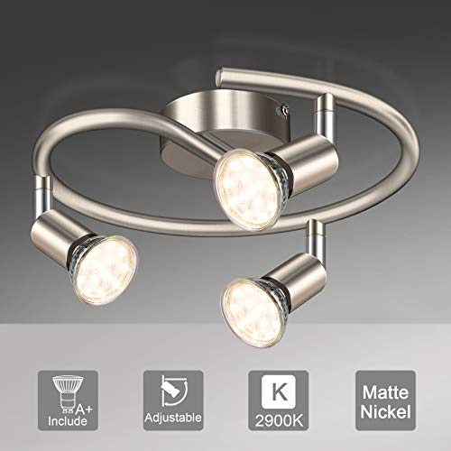 Unicozin LED Deckenleuchte Rund, 3 Flammig LED Deckenstrahler Schwenkbar Matte Nickel, Inkl. 3 x 3.5W GU10 LED Lampen, 380LM, Warmweiß, LED Deckenspot LED Deckenlampe