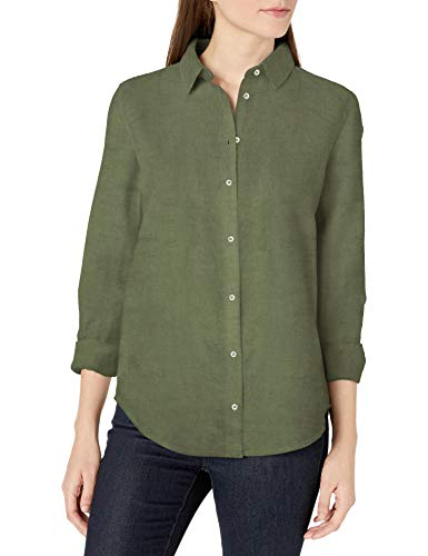 Amazon Essentials Women's Classic-Fit Long-Sleeve Linen Shirt, Olive, Small