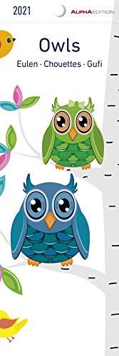 Eulen 2021 - Lesezeichenkalender 5,5x16,5 cm - Owls - Tierkalender - Lesehilfe - Alpha Edition
