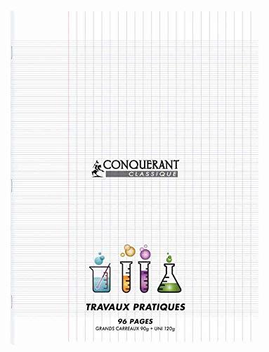 CONQUERANT Lot de 3 Cahiers Travaux pratique piqué 24 x 32 cm Polypro Incolore 90G/120G 96P seyes